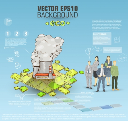 coworker banner: Stock Illustration: Template for advertising brochure with business people and factory Illustration