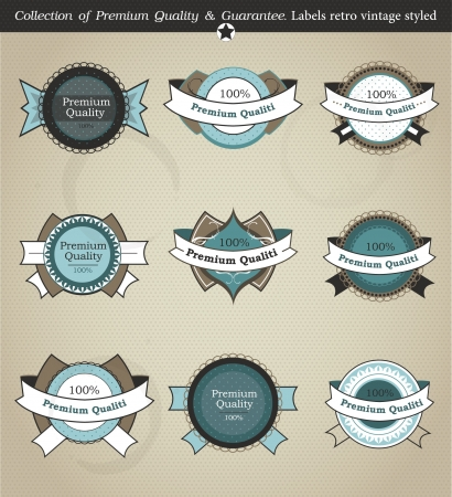 set of retro labels, buttons and icons. Illustration