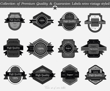 SET 16 : Collection of Premium Quality and Guarantee Labels with retro vintage styled design