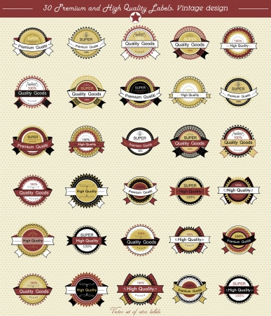 30 Premium and High Quality Labels whit vintage design Vector