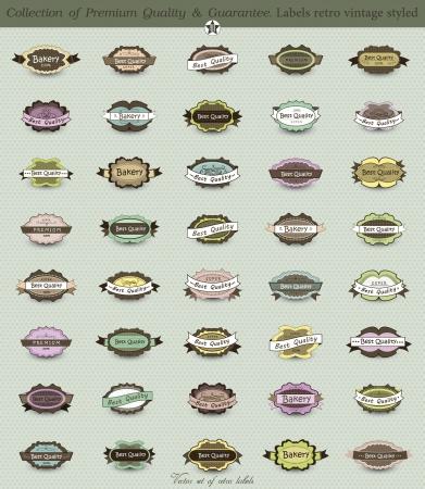 big set: 40 Premium and High Quality Labels whit vintage design Illustration