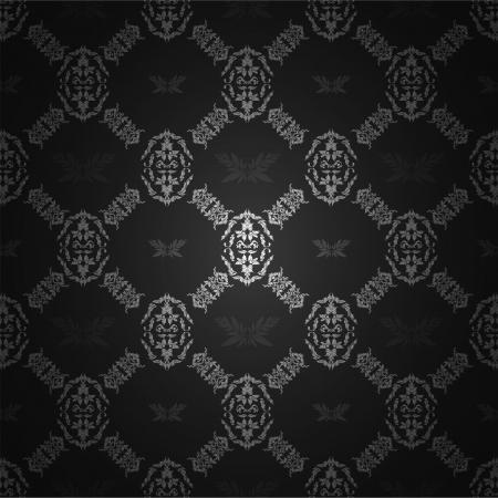 Seamless wallpaper pattern, black Illustration