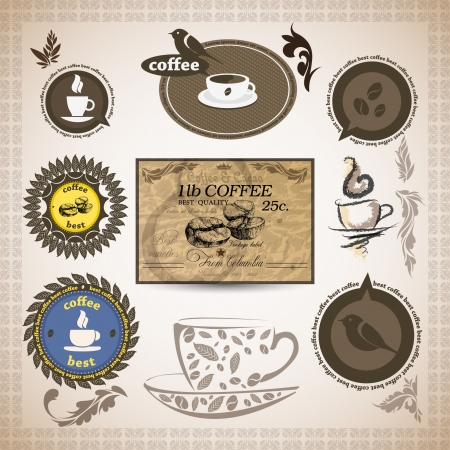 coffee beans: Coffee labels and badges. Retro style coffee vintage collection.