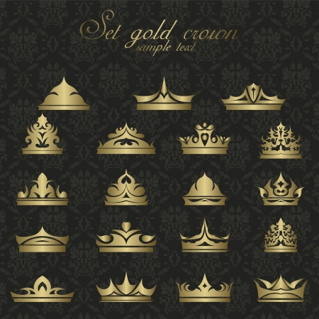 icons set gold Crown for premium quality vintage label