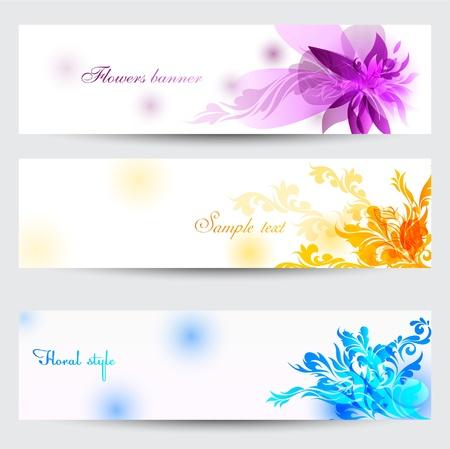 Flower vector background brochure template. Set of floral cards