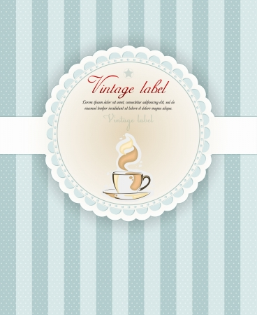 Retro Vintage Coffee Background with cup Vector