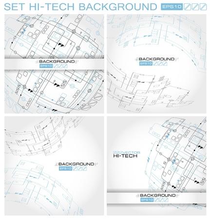 Set Hi-tech Abstract Vector Background.