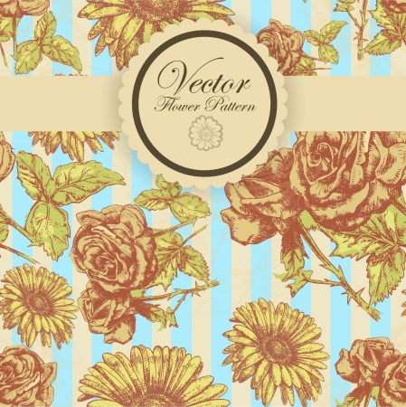 Abstract Elegance Seamless pattern with floral background vintage style Stock Vector - 17031837