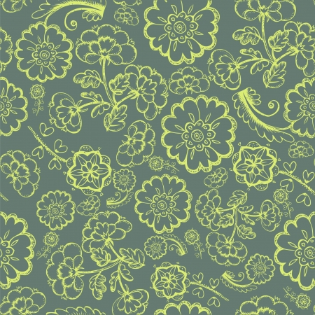 Abstract Elegance Seamless pattern with floral background vintage style
