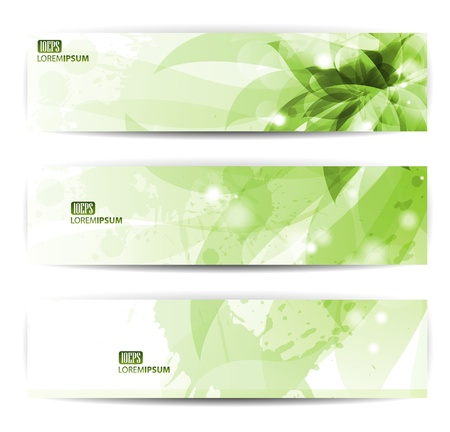 set of three banners, abstract headers with blots Illustration