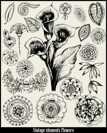 etched: retro set Flower