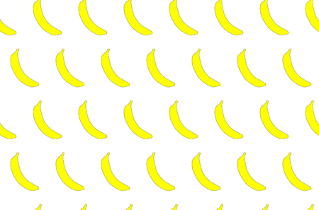 The pattern is seamless from tropical, African, yellow, bright, tasty, juicy, fresh, hand-drawn bananas with a black stroke on a green background.
