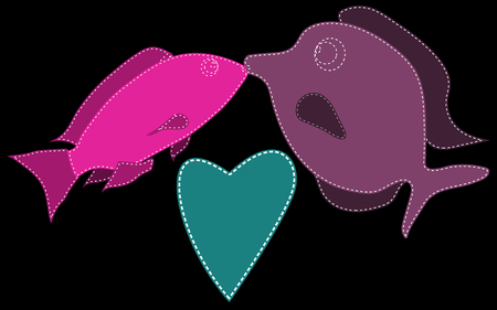 Two fish, purple and pink, stitched with white threads kiss next to the heart of blue on a black background. Marine love. Vector illustration. Illustration