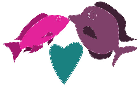 Two fish, purple and pink, sewn with white threads kiss next to a blue heart on a white background. Marine love. Vector illustration.