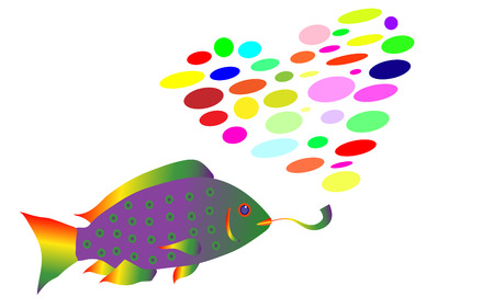 The rainbow fish in rasta style smokes a pipe and exhales smoke in the form of a heart from multi-colored balls. Vector illustration. Isolated on white background. Illustration