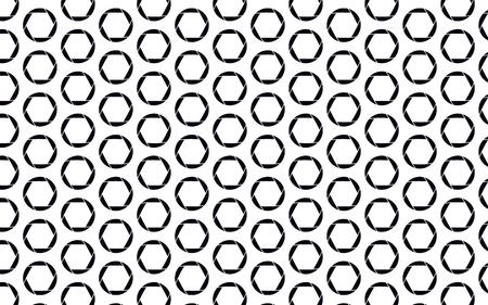 Black, beautiful, round camera diaphragm on white background, seamless texture. Pattern. Vector illustration.