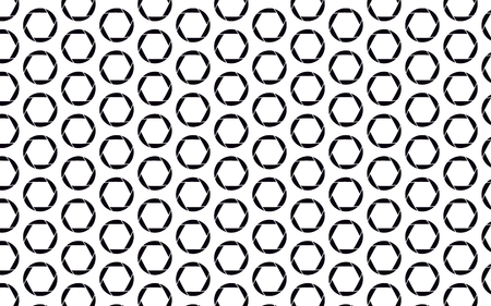 Black, beautiful, round camera diaphragm on white background, seamless texture. Pattern. Vector illustration.