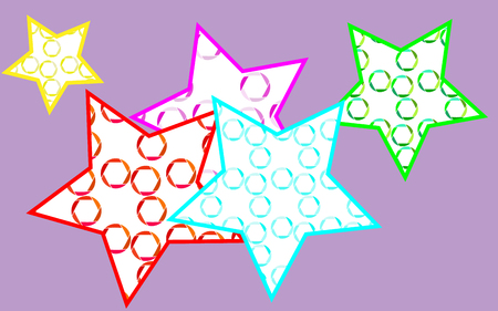 5 multicolored, bright, motley, beautiful stars painted in a pouring from multi-colored, abstract camera diaphragms on a purple background. Vector illustration. Illustration