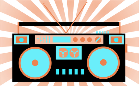 Colorful, bright, retro audio cassette tape recorder in pink-blue tones. The 80s stereo system on the background of the rays.