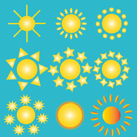 A set of 9 yellow suns with rays of different shapes. Vector illustration.
