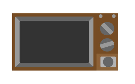 Old, brown, hipster, retro, vintage TV with a kinescope from the 80s. Vector illustration.