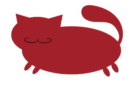 Bordeaux, red, silhouette of a fat cat with a mustache, with short paws and a large snout with ears sticking upwards on a white background, icon. Vector illustration.
