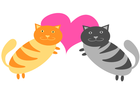 Gray and yellow cats are hugging next to a pink heart on Valentines Day on a white background. Vector illustration. Illustration