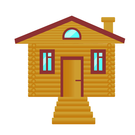 Wooden house of brown logs with a porch and red roof on a white background. Log house, cottage. Vector illustration.