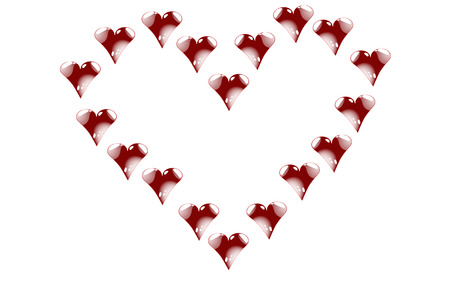 A lot of red hearts in the shape of heart. Blazing, bright, motley hearts with beautiful white highlights and reflections to the day of St. Valentine on a white background. Vector illustration.