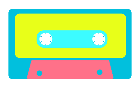 Blue, yellow, pink, antique, old, vintage, retro, hipster, musical audio cassette from the 80's, 90's on a white background. Vector illustration. Ilustração