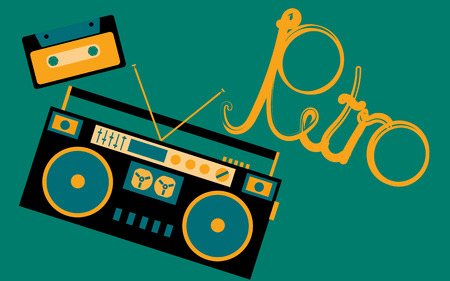 Old, vintage, retro, hipster, antique, cassette audio tape recorder and audio cassette from the 80s, 90s with an inscription retro on a dark green background. Vector illustration. Illustration