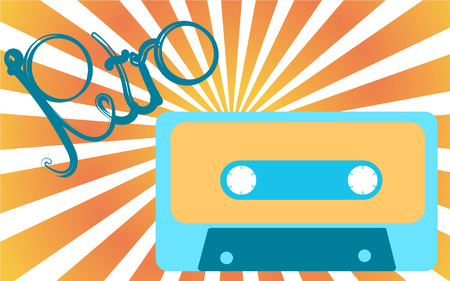 Old, vintage, retro, hipster, antique, blue and yellow audio cassette with an inscription of retro against a light yellow rays. Vector illustration.