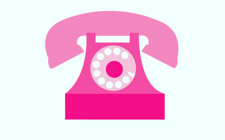 Old, retro, antique, ancient, vintage, hipster, pink disk phone with snorkel on white background. Vector illustration. 일러스트