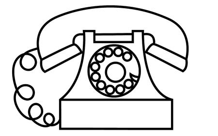Téléphone disque vieux, rétro, antique, vintage, hipster, noir et blanc avec une pipe dessinée par un trait sur une illustration vectorielle de fond blanc.