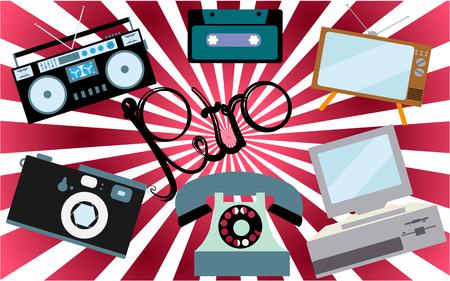 Een set van retro-elektronica, technologie. Oude, vintage, retro, hipster, antieke kinescoop-tv, computer met diskette, disk telefoon, camera, cassetterecorder, audiocassette. Vector Illustratie
