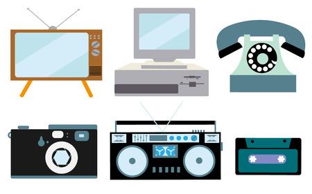 A set of retro electronics, technology. Ilustrace