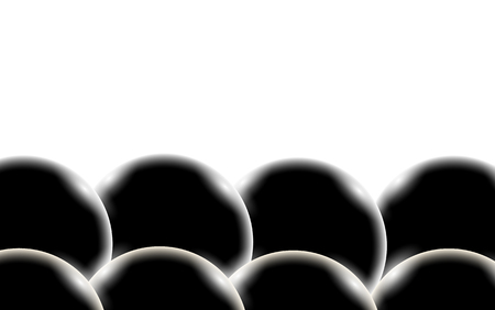 Black abstract shiny beautiful and convex smooth three-dimensional simple balls, bubbles, circles with glare of light on a white background and space for a simple text. Vector illustration.