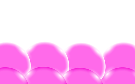 Pink abstract shiny beautiful and convex smooth three-dimensional simple balls, bubbles, eggs circles with glare of light located from the bottom on a white background and space for a simple text. Vector illustration. Illustration