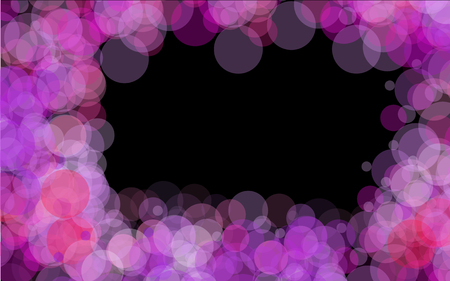 A frame of purple bright transparent abstract shiny beautiful light spots with a bokeh effect with glare of light located around on a black background and space for a simple text. Vector illustration. Illustration