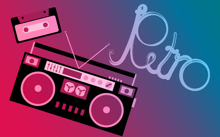 Old retro vintage hipster musical audio tape recorder and audio cassette and retro inscription on gradient background. Vector illustration.
