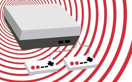 noir et blanc avec un vieux gris rétro rétro vintage retro console de jeu vintage avec deux revolvers et des boutons sur un fond de cercles rouges colorés. illustration vectorielle