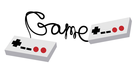 Two black and white old retro hipster joysticks manipulating consoles from the 80's, 90's for video game consoles and inscription game written by wire on a white background. Vector illustration Illustration