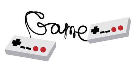 Twee zwart-witte oude retro hipsterjoysticks die consoles uit de jaren 80, 90's manipuleren voor videogameconsoles en inscriptiespel geschreven door draad op een witte achtergrond. Vector illustratie Stockfoto - 96831331
