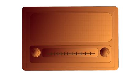 Bronze old retro retro antique vintage rectangular hipster radio, music radio receiver with round regulators inscription. Ilustrace