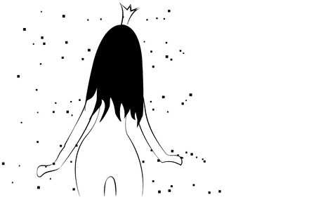 Slim, fragile black and white little tender princess girl with a crown with a beautiful slender figure turned with her back with long hair drawn by lines on a white background. Vector illustration