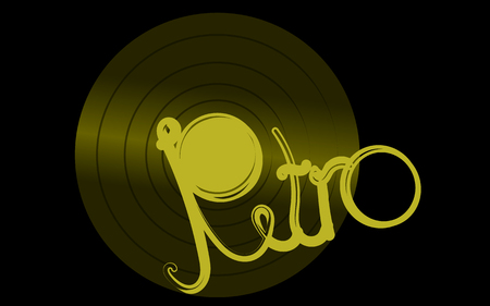 Golden overflowing vinyl musical analogue retro old antique antique hipster vintage gramophone record for gramophone and retro inscription on a black background in the center. Vector illustration Illustration