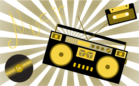 Yellow musical analogue retro old hipster vintage gramophone vinyl record, audio cassette, musical tape recorder from the 80s 90s and an inscription of music on the background of the rays. Vector illustration