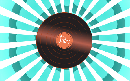 Brilliant vinyl musical analogue retro old antique hipster vintage gramophone record for a vinyl gramophone and a retro inscription against a background of blue abstract rays. Vector illustration Illustration