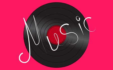 Black gramophone on a pink background with Music lettering Illustration