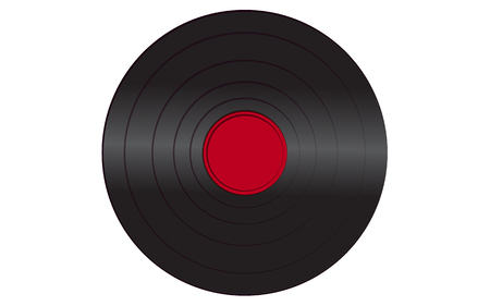 Black iridescent vinyl musical analogue retro old antique hipster vintage gramophone record with a red center for a gramophone on a white background. Vector illustration